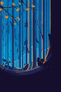 Squirrel Illustration Artwork Forest Trees Blue Sky