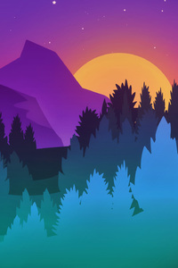 480x800 Stars Mountains Trees Colorful Minimalist Artwork