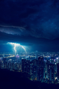 320x568 Storm Night Lightning In City 4k