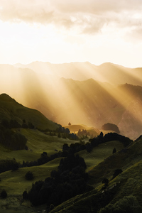 1280x2120 Sunbeams Morning Mountains