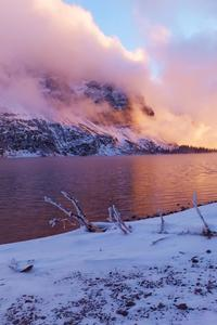 2160x3840 Sunset Frozen Lake Evening