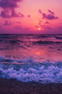 480x854 Sunset Waves Red 5k
