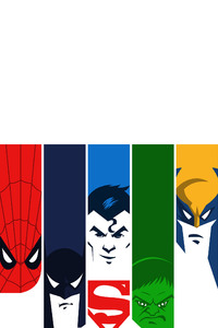 320x480 Superman Batman Hulk Spiderman Wolverine 4k Minimalism