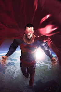 750x1334 Superman In The Space Red Cape Flying Artwork 8k
