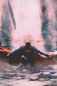 320x568 Superman Justice League Artwork 4k