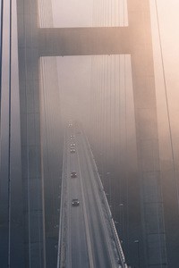 480x800 Suspension Bridge View From Top Evening Fog 4k