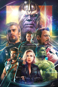 Thanos Iron Man Captain America Hawkeye In Avengers Infinity War Artwork