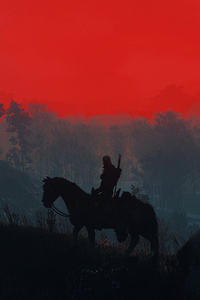 480x800 The Witcher 3 Geralt Silhouette