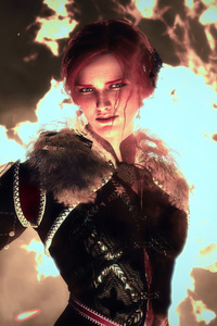 480x854 The Witcher 3 Magic Woman 10k
