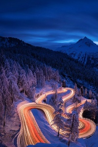 Time Lapse Photography Forest Landscape Mountain Night Road Snow