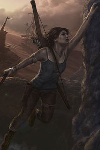 640x960 Tomb Raider 5k Artwork