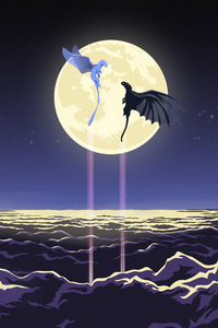 640x960 Toothless And Light Fury Artwork 4k