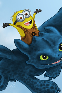 1080x1920 Toothless And Minion
