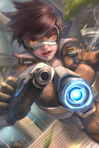 320x568 Tracer Ovewatch Artwork 5k