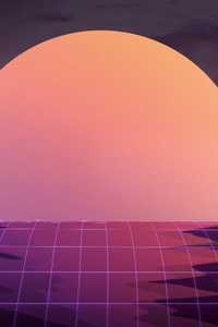 320x480 Vapor Wave Sunset 4k