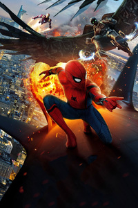 640x1136 Vulture And Iron Man Spiderman Homecoming Chinese