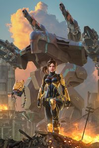 750x1334 Warrior Fantasy Girl With Robot 4k