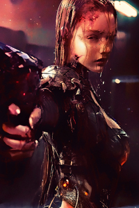 1125x2436 Warrior Girl Cyberpunk Futuristic Artwork