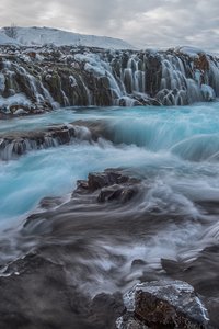Waterfall Winter Frozen Rock 8k