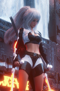 White Hair Cyberpunk Girl