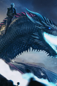 480x800 White Walker And Dragon Breaching The Wall