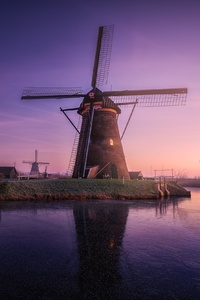 640x960 Windmill Building Sunrise Field Reflections
