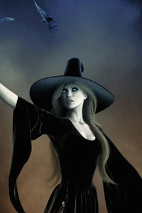1080x1920 Witch With Hat Black Dress Fantasy Art