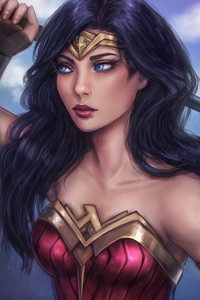 1080x2160 Wonder Woman Closeup Art