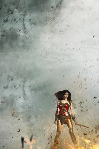 1125x2436 Wonder Woman Fighting With Monsters