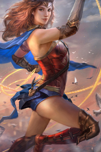 480x800 Wonder Woman Justice League Art