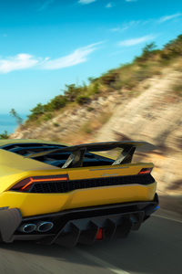1440x2560 Yellow Lamborghini Huracan Rear